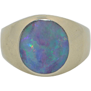 Vintage Very Fiery Natural Black Opal Ring in 14K White Gold