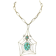 Very Large Sterling Silver and Turquoise Spiderweb Insect Necklace