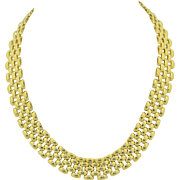 "17.5"" Panther Link Solid 14K Yellow Gold Necklace"
