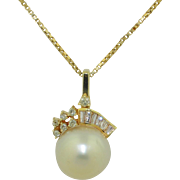 12.5mm Pearl & Diamond Necklace 14K Yellow Gold