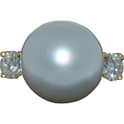 18K Akoya 12.5mm Pearl Ring with 1/2 CT Diamonds