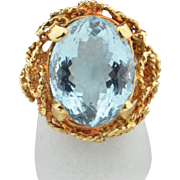 Retro 11.9 CTW Aquamarine Ring in 14K yellow Gold