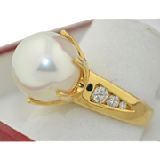 The Perfect 11.5mm Pearl & Diamond Ring 14K Yellow Gold