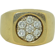 Retro Mens 14K Yellow Gold & Diamond Ring