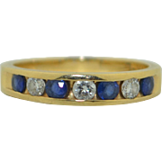 14K Diamond and Blue Sapphire 7 Stone Half Band Wedding - Engagement Ring