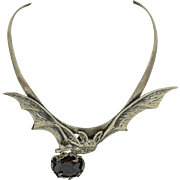 Amazing Sterling Silver & Garnet Fruit BAT Necklace - Hand signed by Bob Springer