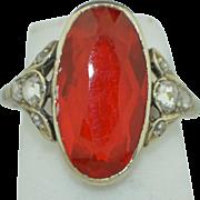 4 Carat Fire Opal & Rose Cut Diamond Ring14K White Gold