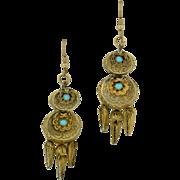 14K Victorian Turquoise Dangle Earrings