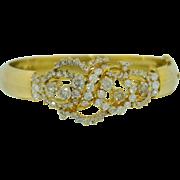 Massive 14K Yellow Gold and 7 CT + Diamond Bracelet