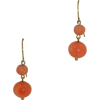 Victorian Salmon Coral and 10K Dangle Earrings