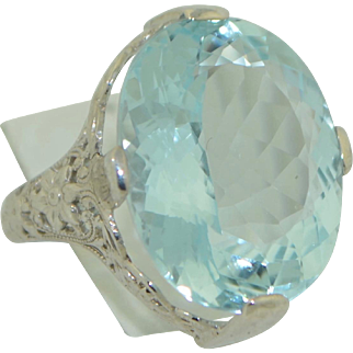 13.25 Carat AA Aquamarine 14K White Gold Filigree Ring