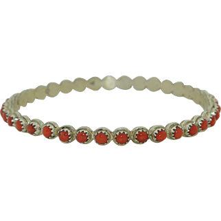 Navajo Sterling Silver & Red Coral Eternity Bangle Bracelet