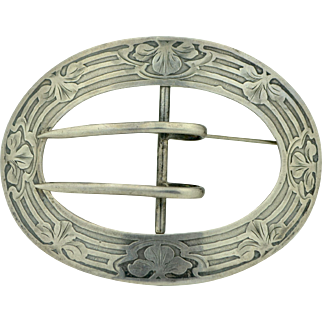Art Nouveau Sterling Silver Belt Brooch by La Pierre