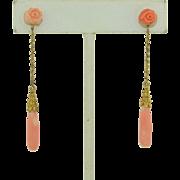 Victorian 14K Etruscan Coral Drop Earrings