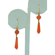 14K Victorian Coral Drop Earrings