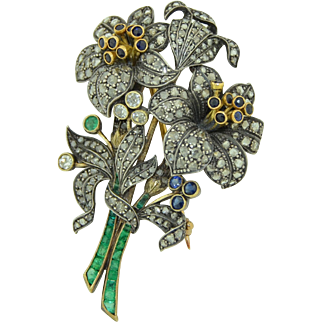 Victorian French (Paris) 18K & Silver Diamond Emerald & Sapphire Large Brooch