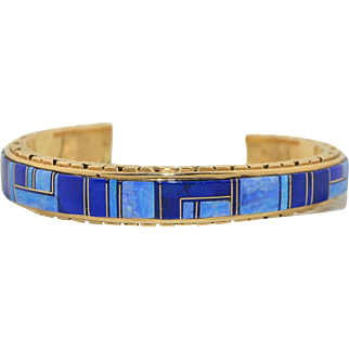 Solid 14K Yellow Gold Native American Bracelet Cuff Opal & Lapis Inlay 43.7gms