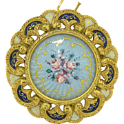 18K Guilloche & Fine Hand Painted Enamel Pendant - Brooch