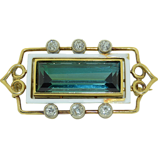 17.5CT Indicolite Tourmaline & Diamond Brooch 14K