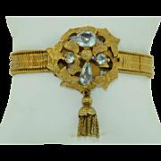 Georgian 15K Aquamarine Tassel Bracelet