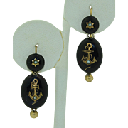 Victorian 14K & Silver Gilt Anchor Mourning Earrings