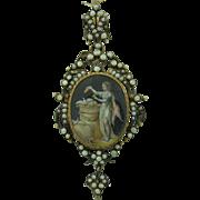 Georgian French Extra Large Miniature Locket Pendant 18K & Sterling Silver