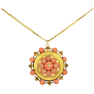 Victorian 14K Coral Rose Cut Diamond Necklace Locket