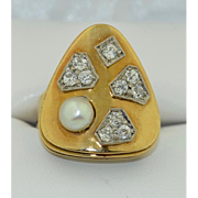 Modernist 14K Diamond and Pearl Ring