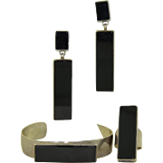 Zuni Signed ANT Sterling Silver and Black Onyx Bracelet Earrings and Ring Suite Set