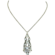 Victorian Sterling Silver & Paste Pendant Necklace