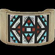 Signed Zuni Leander & Lisa Othole Sterling Silver Inlay Bracelet cuff