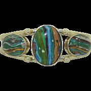 Navajo Signed Anita Francisco Rainbow Calcite Sterling Silver Bracelet- Cuff