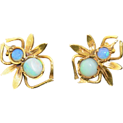 Victorian 18K Yellow Gold & Opal Fire Fly Insect Earrings
