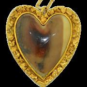 Large Victorian Gold Nugget 22K & 14K Bone Heart Pendant - Alaskan