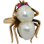 Extra Large 14K Baroque Pearl & Ruby Spider Insect Ring