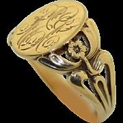 Art Nouveau 10K Signet Ring