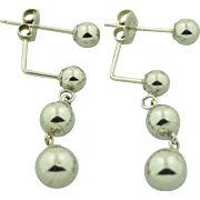 14K White Gold Orb Drop Earrings