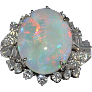 Large White Fiery Opal with 2CTW Diamonds in 14K White Gold Ring