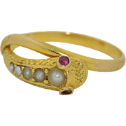Victorian 15K Yellow Gold Snake with Ruby Eyes and a Seed Pearl Head Ring