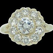 Art Deco 14K White Gold Diamond Halo Ring