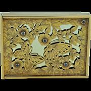 Boucheron (Paris) Sapphire Sterling & Gold Engraved Butterfly Makeup Compact