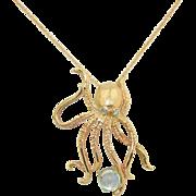 14K Rose Gold Octopus Rainbow Moonstone & Diamond Necklace
