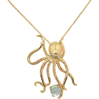 14K Rose Gold Octopus Rainbow Moonstone & Diamond Necklace