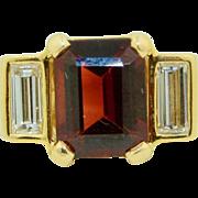 Vintage 14K Fine Garnet & 1/2CTW Diamond Ring