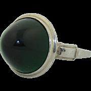 Art Deco Sterling Silver & Glass Bullet Ring