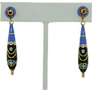 Unusual 18K Swiss Enamel Long Dangle Earrings (late 1800's)