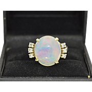 14K Crystal Opal & Diamond Ring