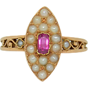 Victorian French 18K Ruby and Pearl Novelette Ring
