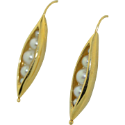 Signed Ronna Lugosch 14K Pea Pod Earrings