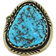 SZ 9.75US Sterling Silver Hand Wrought Turquoise Ring